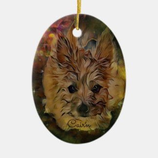 Cairn Terrier Puppy Oval Ornament, Brown Christmas Ornament