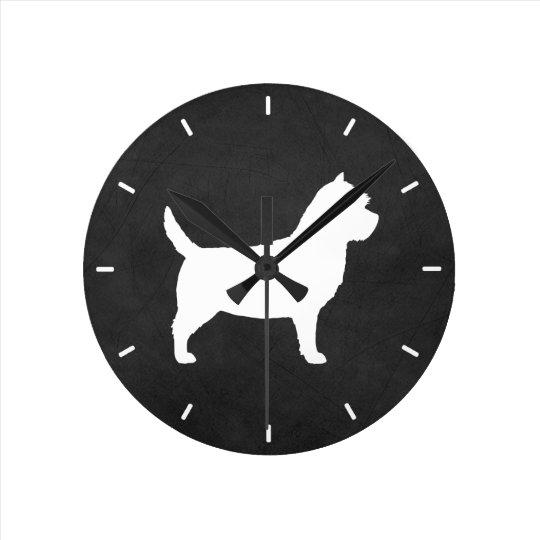 Cairn Terrier Silhouette Round Clock