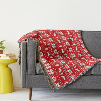 Cairn Terrier Silhouettes Christmas Pattern Red Throw Blanket