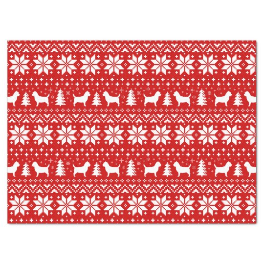 Cairn Terrier Silhouettes Christmas Pattern Red Tissue Paper