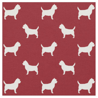 Cairn Terrier Silhouettes Pattern Red Fabric