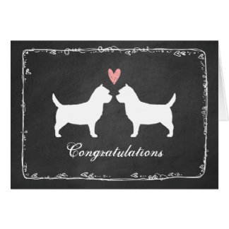Cairn Terrier Silhouettes Wedding Congratulations Card