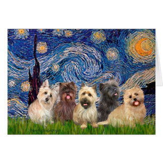 Cairn Terriers (Five) - Starry Night Card