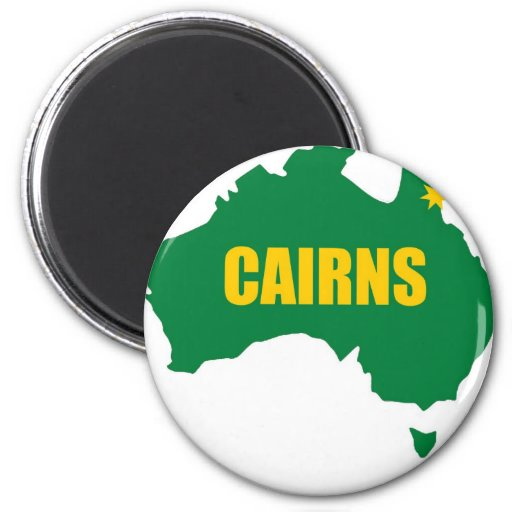 Cairns Green and Gold Map Fridge Magnet