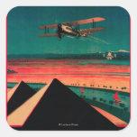 Cairo - Bagdad - Karachi Air Vintage Poster Square Stickers