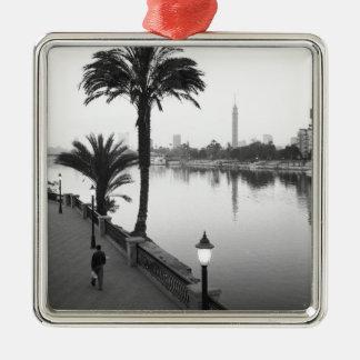 Cairo Egypt, Along the Nile River Silver-Colored Square Decoration