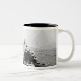 Cairo Egypt, Camel Jockeys Giza Pyramids (NR) 2 Two-Tone Coffee Mug