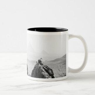 Cairo Egypt, Camel Jockeys Giza Pyramids (NR) Two-Tone Coffee Mug
