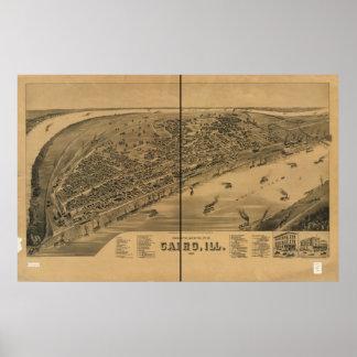 Cairo Illinois 1888 Antique Panoramic Map Posters
