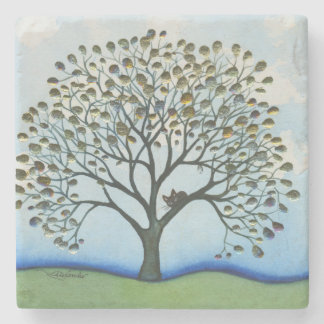 Cairo Whimsical Cat in Tree Stone Coaster