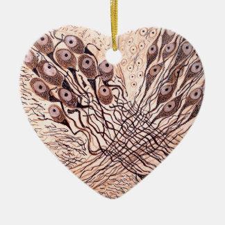 Cajal's Neurons 1 Ceramic Heart Decoration