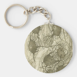 Cajal's neurons 6 basic round button key ring