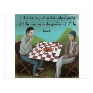 Cajun Chess Funny Cartoon Postcard