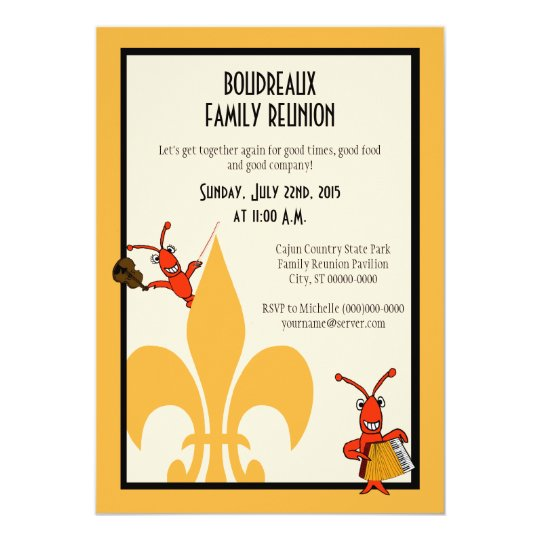 Cajun Crawfish Fleur de Lis Family Reunion Card