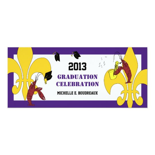 Cajun Crawfish Jazz Graduation Party Card