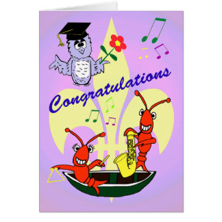 Cajun Themed Crawfish Graduation Card