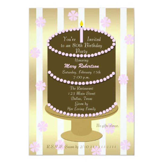 Cake 80th Birthday Party Invitation 80th in Pink