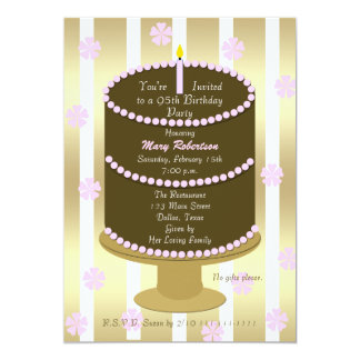 """Cake 95th Birthday Party Invitation - 95th in Pink 5"""" X 7"""" Invitation Card"""