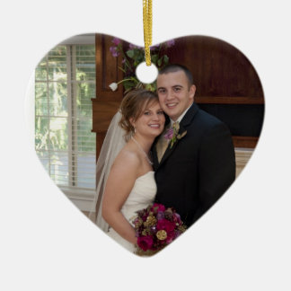 Cake and Champagne Custom Photo Wedding Memory Ceramic Heart Decoration