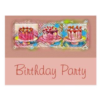 Cake Art Peach Birthday Party Invitation Postcard