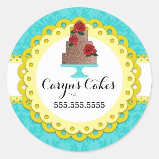 Cake Bakery Damask Yellow Scallop Seals Round Sticker