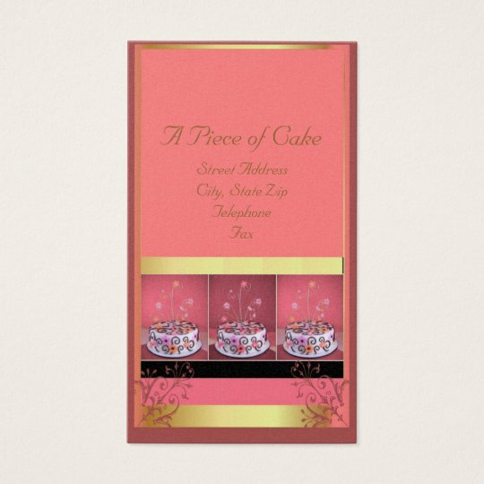 Cake Business Cards Pink Background