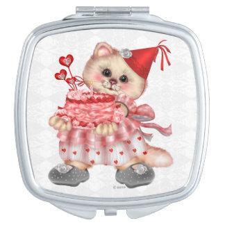 CAKE CAT CARTOON compact mirror SQUARE