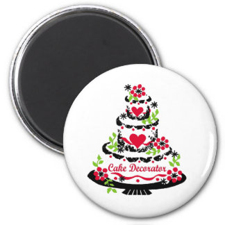 Cake Decorator on Pretty Tiered Cake 6 Cm Round Magnet