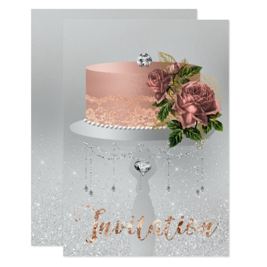 Cake Flower Rose Gold Crystals Silver Gray Glitter