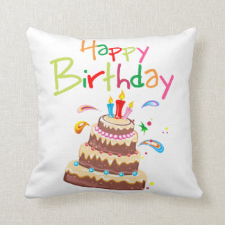 Cake Happy Birthday Throw Pillow