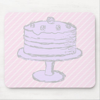 Cake in Light Purple on Pink. Mousepads
