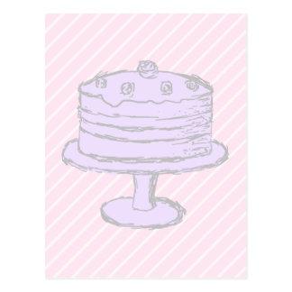 Cake in Light Purple on Pink. Postcard