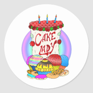 Cake Lady Design Classic Round Sticker