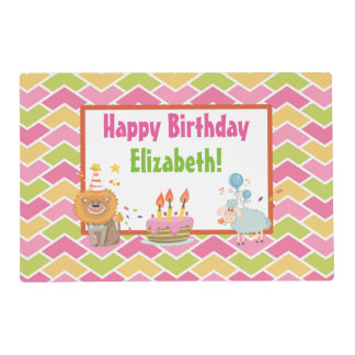 Cake, Lion, Sheep and Balloons Happy Birthday Laminated Place Mat