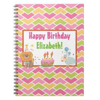 Cake, Lion, Sheep and Balloons Happy Birthday Spiral Notebook