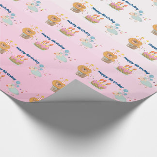 Cake, Lion, Sheep and Balloons Happy Birthday Wrapping Paper