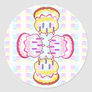 CAKE MANIA :  KIDS would like PLAY with CAKES Round Sticker