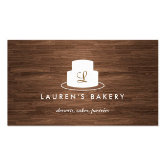 Cake Monogram Logo in White on Brown Woodgrain Pack Of Standard Business Cards