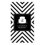 Cake Monogram Logo with Mod Stripe Pattern Bakery Pack Of Standard Business Cards