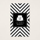 Cake Monogram Logo with Mod Stripe Pattern Bakery Business Card