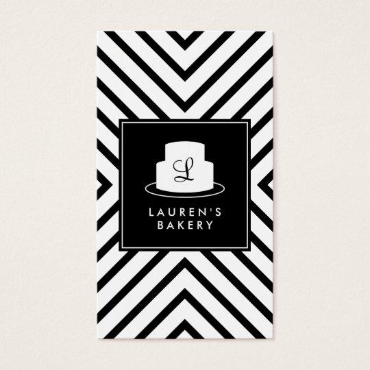 Cake Monogram Logo with Mod Stripe Pattern Bakery