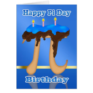Cake Pi Day 3.14 March 14th Birthday Card