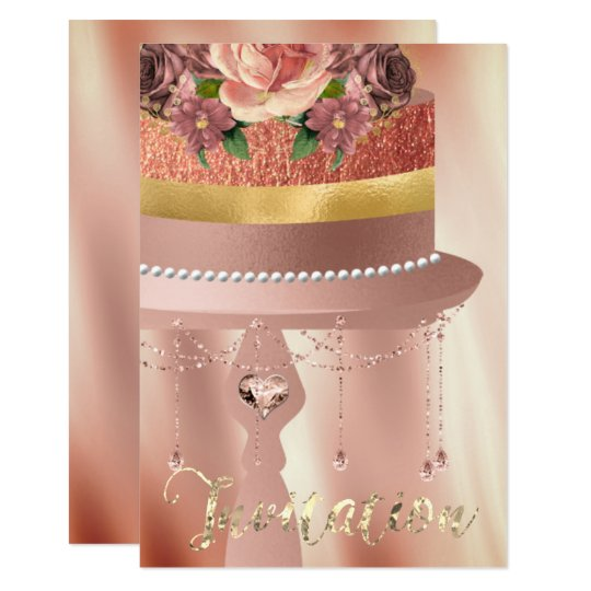 Cake Pink Rose Gold Crystals Curtains Silk Glitter