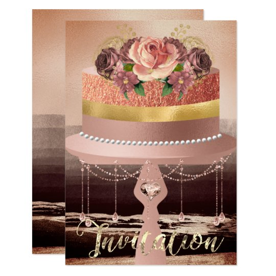 Cake Pink Rose Gold Crystals Strokes Black Glitter