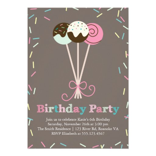 Cake Pops and Sprinkles Birthday Party Personalized Invites