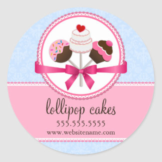 Cake Pops Bakery Box Seals Round Sticker