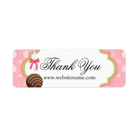 Cake Pops Bakery Thank You Return Address Label