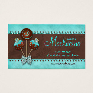 Cake Pops Business Card Bakery Sparkle Blue Brown