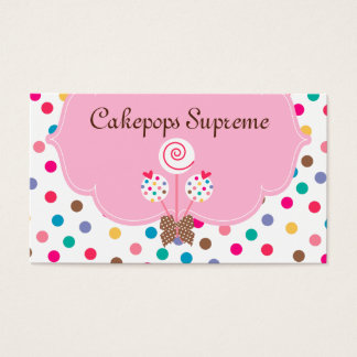 Cake Pops Business Card Polka Dots Pink Heart