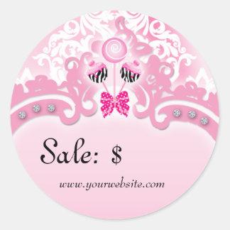 Cake Pops Sticker Price Tag Sale Zebra Pink